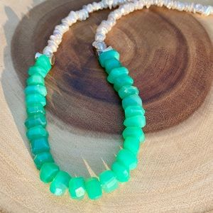 Chrysoprase, Keishi Pearl Necklace